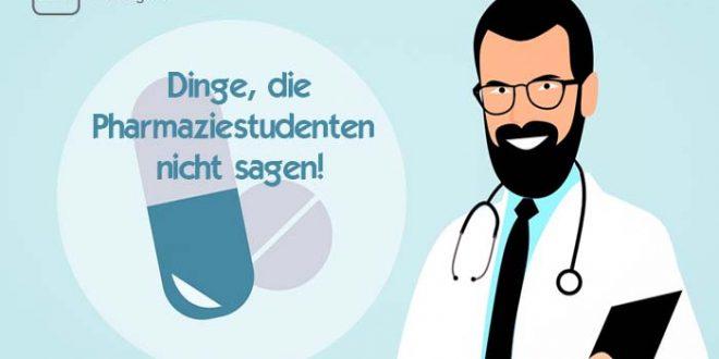 Dinge die Pharmaziestudenten nicht sagen - mit Pillen und einem Studenten in Arbeitskleidung